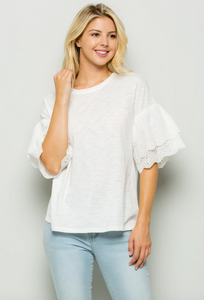 Eyelet Ruffle Sleeve Top