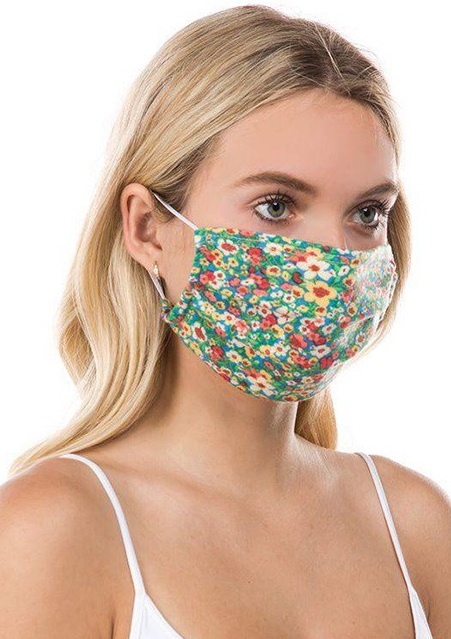 Pleated Floral Mask