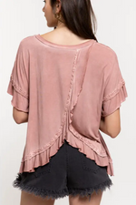 Load image into Gallery viewer, Guava Peek-a-Boo Ruffle Top