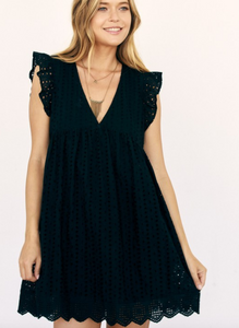 Embroidered Lace Eyelet Romper