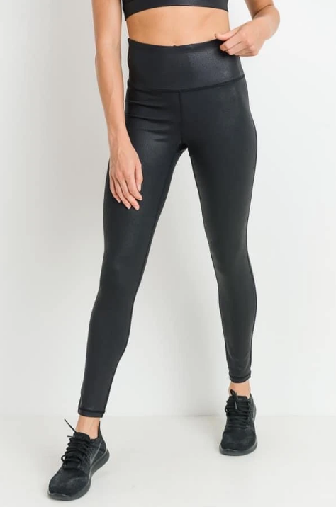 High Waist Black Pebble Leggings