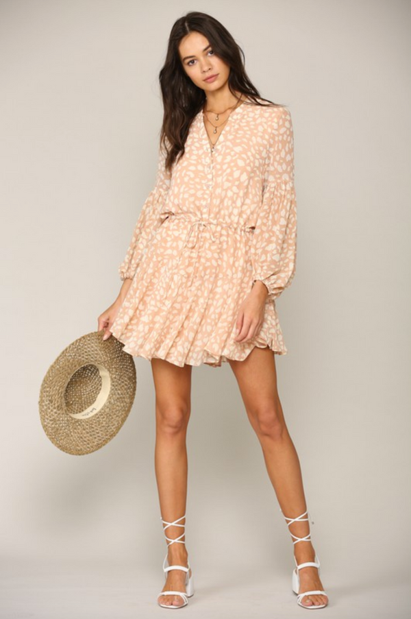 Blush Leopard Chiffon Dress