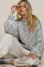 Load image into Gallery viewer, Grey & White Chunky Knit Sweater