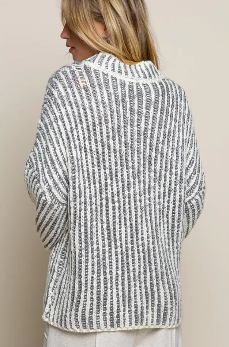 Grey & White Chunky Knit Sweater
