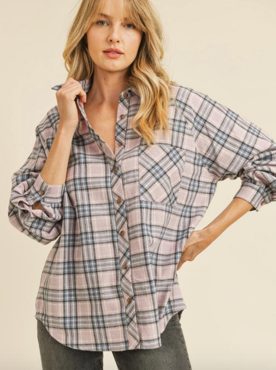 Powder Me Pastel Oversized Flannel