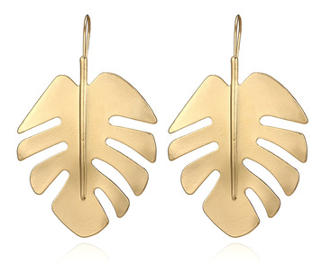 Gold Palm Drop Earrings
