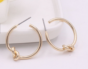 Small Gold Knot Hoop Earrings