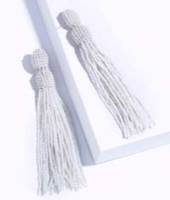 White Beaded Fringe Earrings
