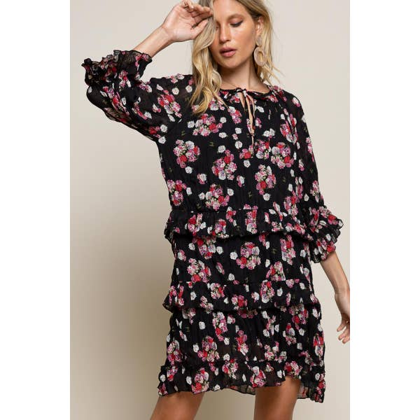 Black Floral Ruffle Dress