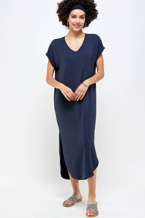 Caroline Navy V Neck Dress