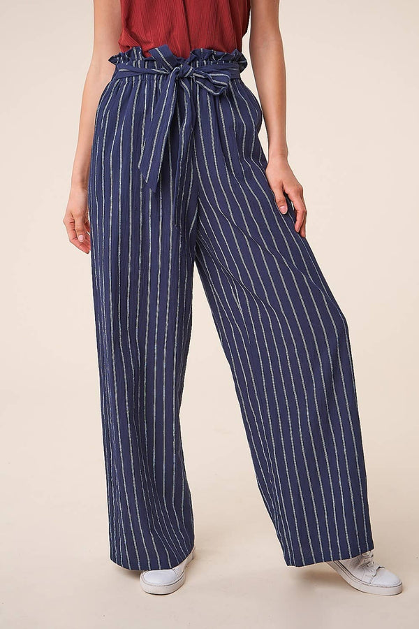 Tonga Striped Wide Leg Paper Bag Pants