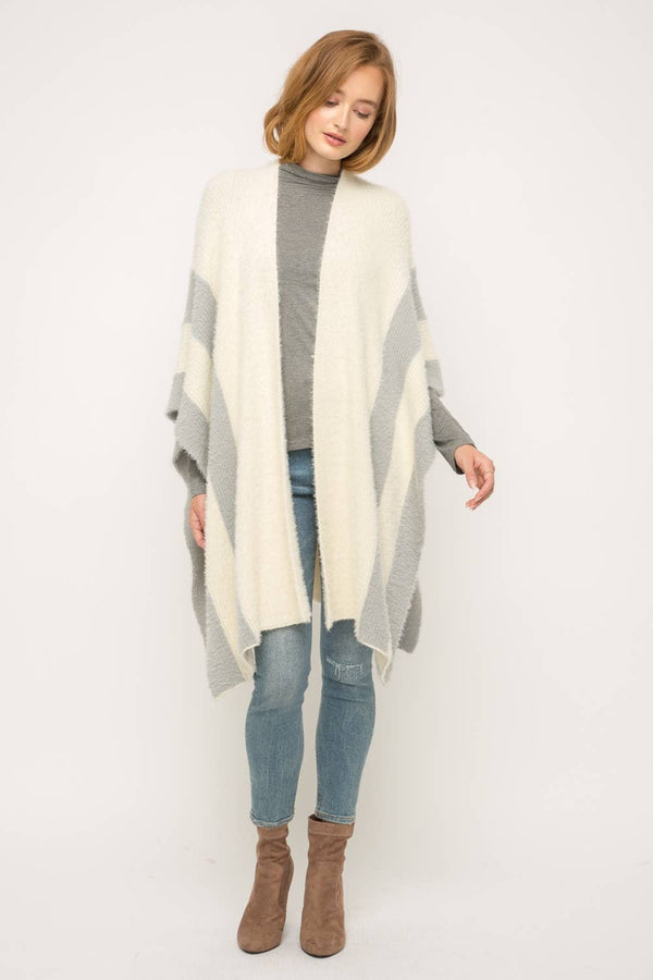 Side Stripe Detail Open Poncho