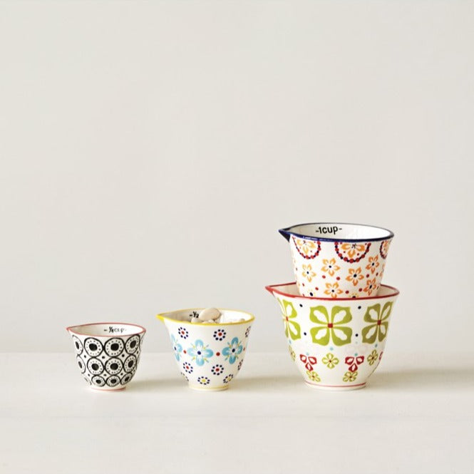 Hand Stamped Floral Measuring Cups