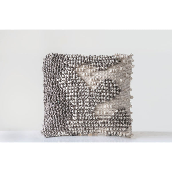 Grey Patterned Wool Looped Pillow