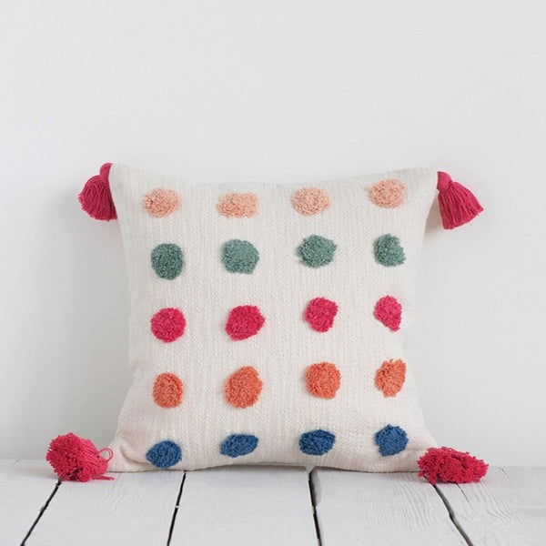 Colorful Tufted Dot Pillow