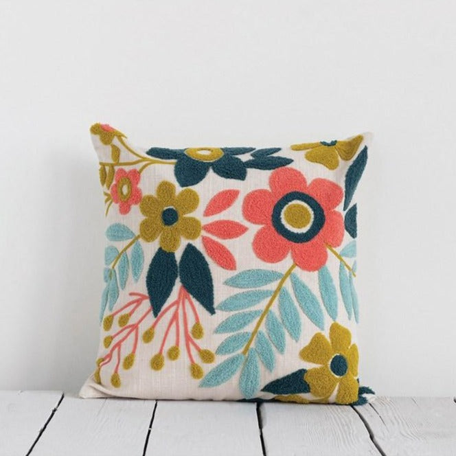 Embroidered Floral Pillow