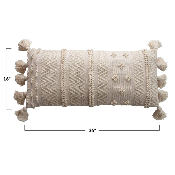 Woven and Pom Lumbar Pillow
