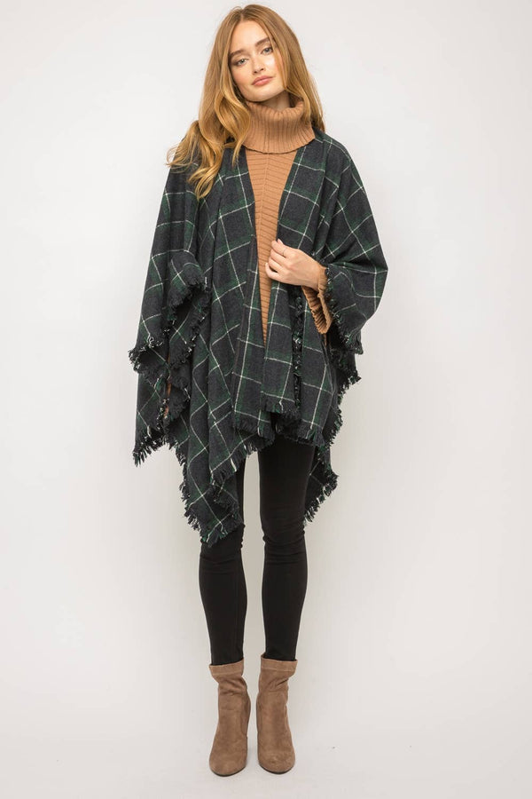 Fray at Hem Checker Poncho