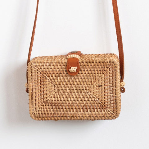 Square Wicker Purse