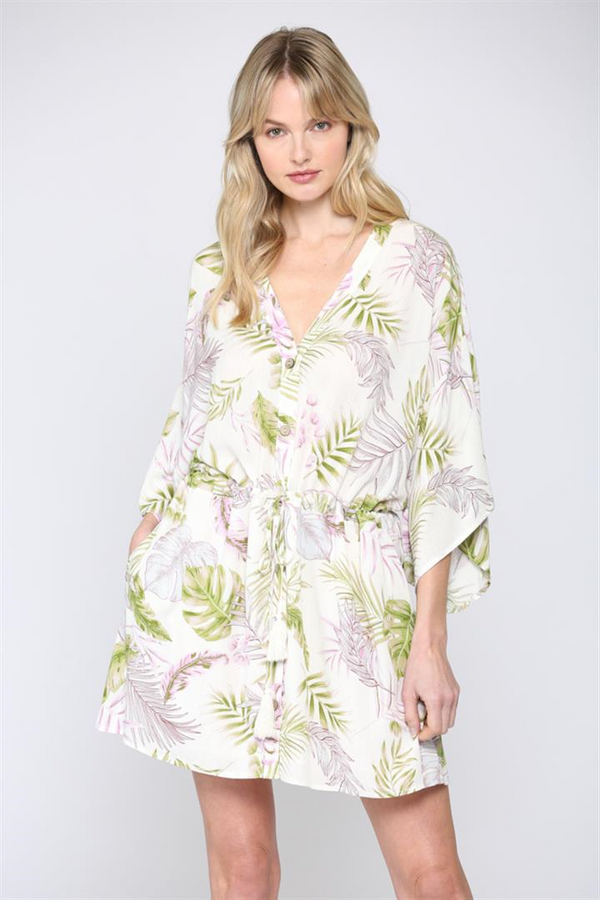 Tropical Print Kimono Dress