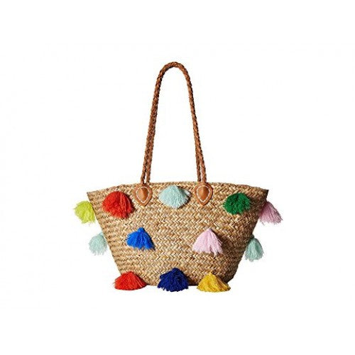 Color Pom Seagrass Tote Bag