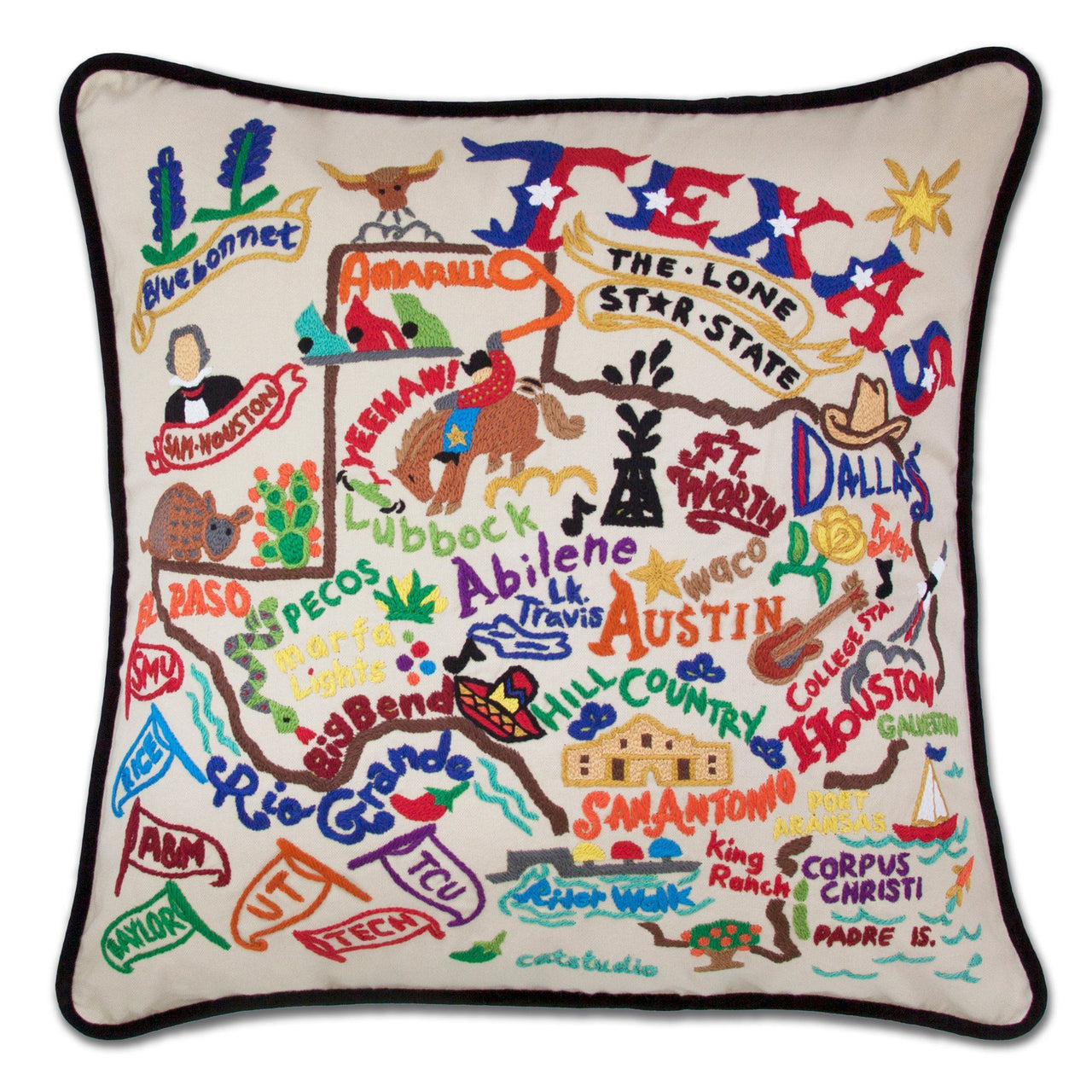 Catstudio Hand-Embroidered Pillow