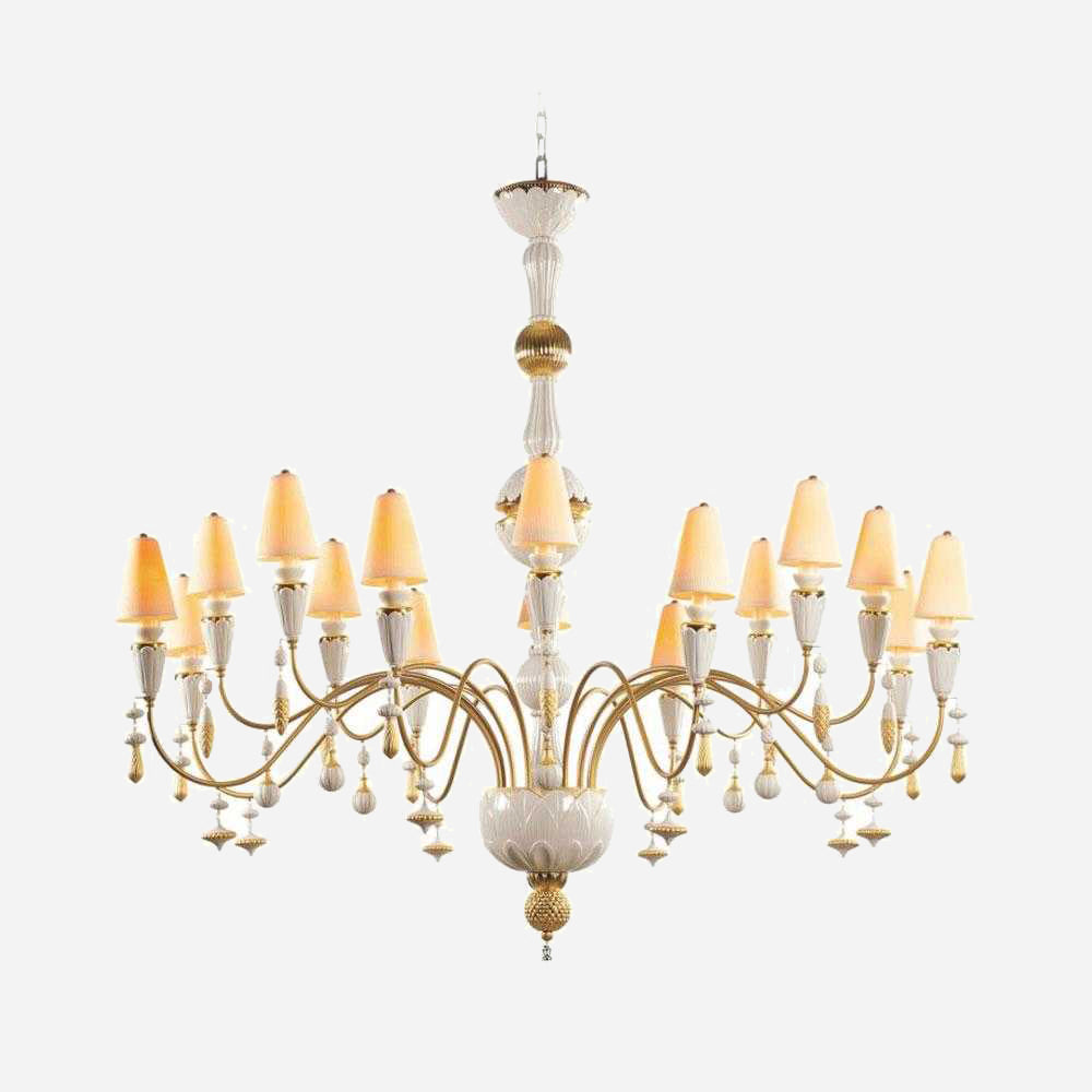 Ivy and Seed 16 Lights Large Chandelier - Golden Luster | iLite Lighting