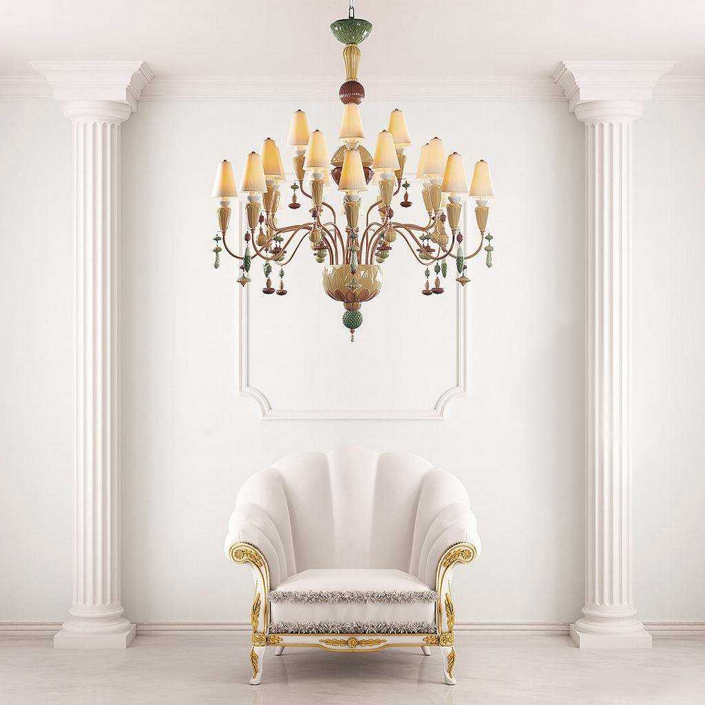 Ivy and Seed 16 Lights Large Chandelier - Golden Luster