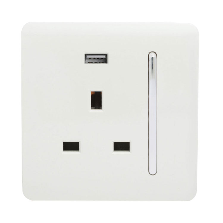 1 Gang 13 amp Switched Single Socket USB White      14.95  Trendiswitch
