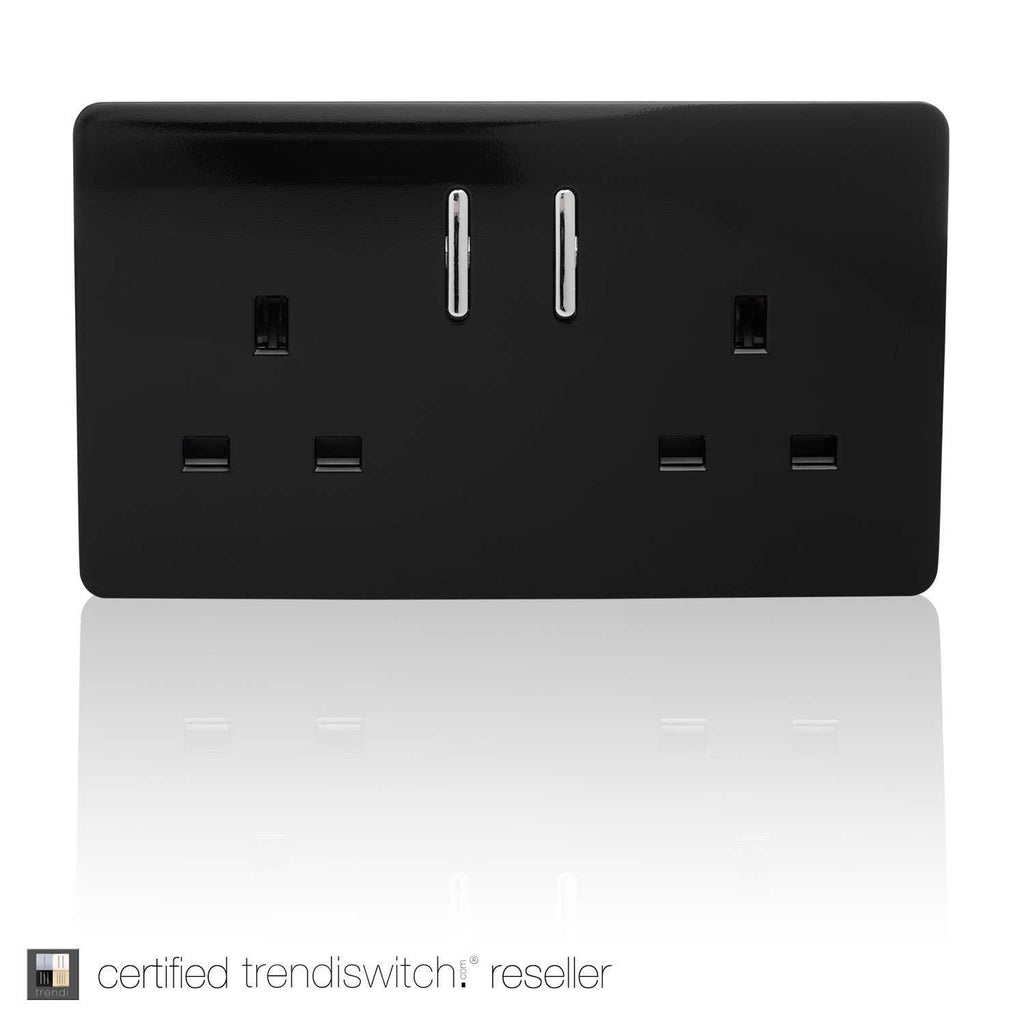 2 Gang 13amp Switched Double Socket Black      11.95  iLite Lighting