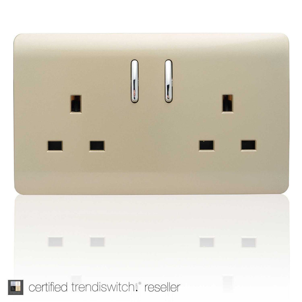 2 Gang 13amp Switched Double Socket Gold      11.95  Trendiswitch
