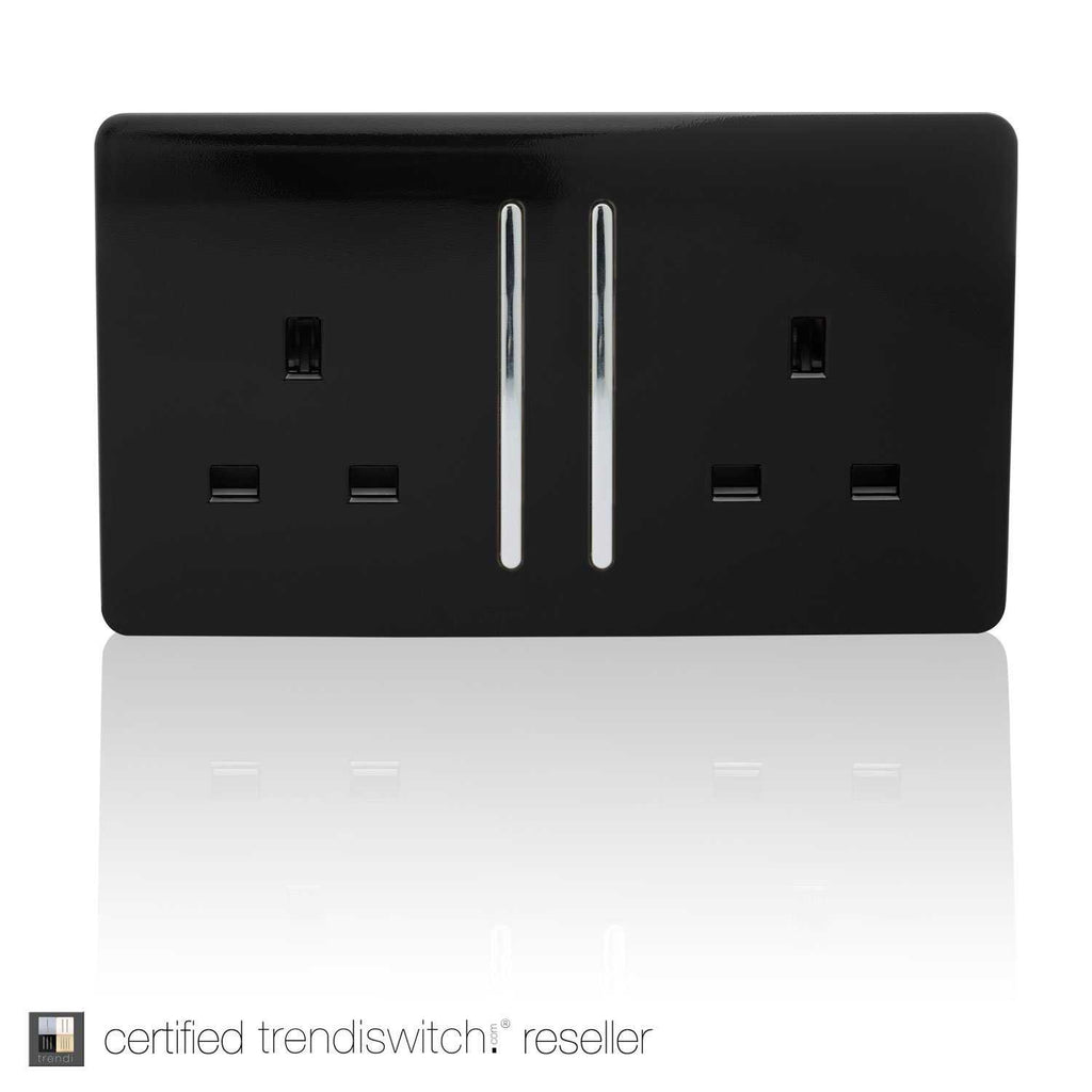 2 Gang 13amp Long Switched Double Socket Black      11.95  Trendiswitch