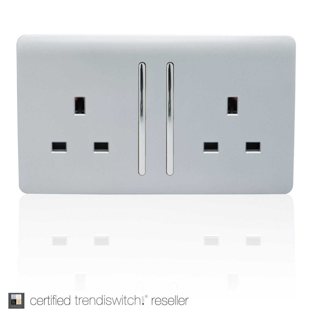 2 Gang 13amp Long Switched Double Socket Silver      11.95  Trendiswitch