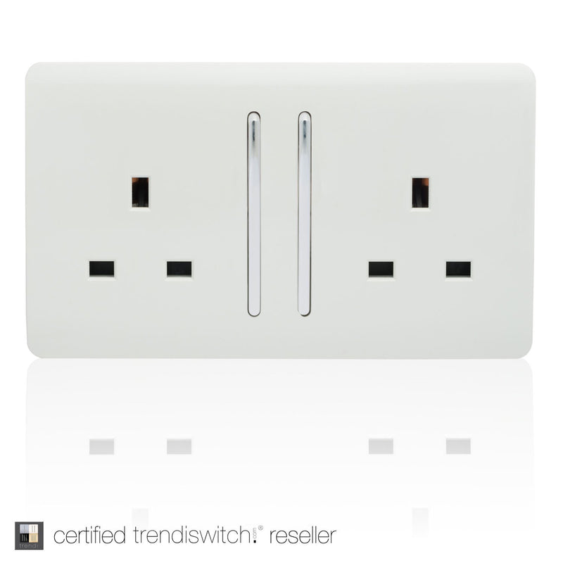 2 Gang 13amp Long Switched Double Socket White | iLite Lighting