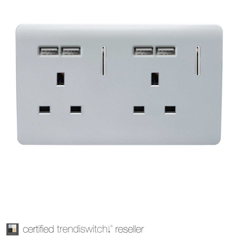2 Gang 13amp Switched Double Socket with 4x 2.1mAh USB Silver | iLite Lighting