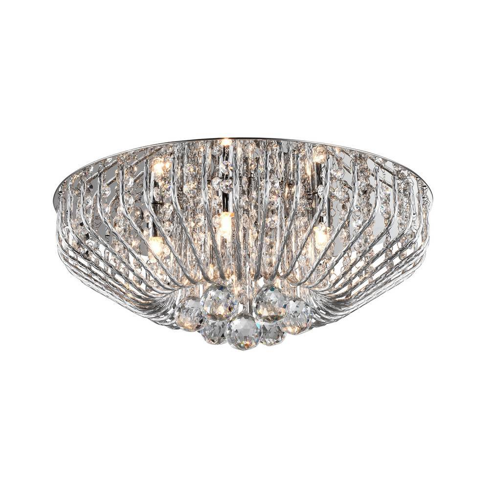Fe 5 Light Crystal Ceiling Light - Chrome      239.90  Impex