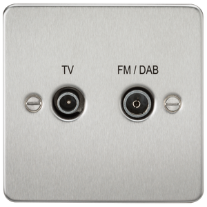 Flat Plate Screened Diplex Outlet (TV & FM DAB) - Brushed Chrome | iLite Lighting