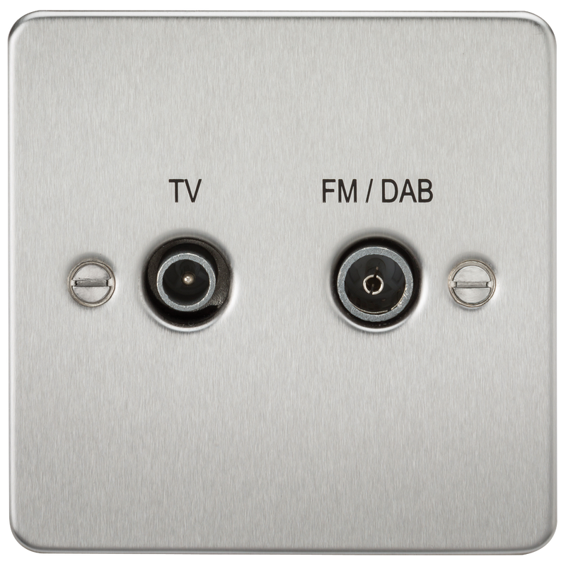 Flat Plate Screened Diplex Outlet (TV & FM DAB) - Brushed Chrome      15.90  Knightsbridge