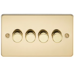 Flat Plate 4G 2 Way Dimmer 60-400W - Polished Brass | iLite Lighting