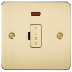 Flat Plate 13A fused spur unit with neon - brushed brass      7.90  Knightsbridge