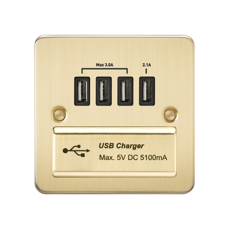 Flat Plate Quad USB charger outlet - Brushed brass with black insert      36.90  Knightsbridge