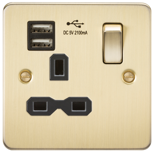 Flat plate 13A 1G switched socket with dual USB charger (2.1A) - brushed brass with black insert      22.90  Knightsbridge