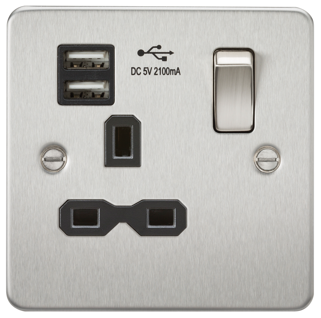 Flat plate 13A 1G switched socket with dual USB charger (2.1A) - brushed chrome with black insert | iLite Lighting