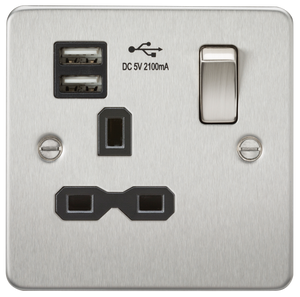 Flat plate 13A 1G switched socket with dual USB charger (2.1A) - brushed chrome with black insert      22.90  Knightsbridge