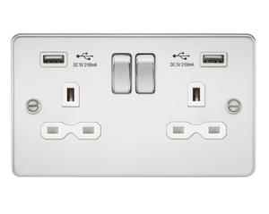 Flat plate 13A 2G switched socket with dual USB charger (2.1A) - polished chrome with white insert      26.90  Knightsbridge