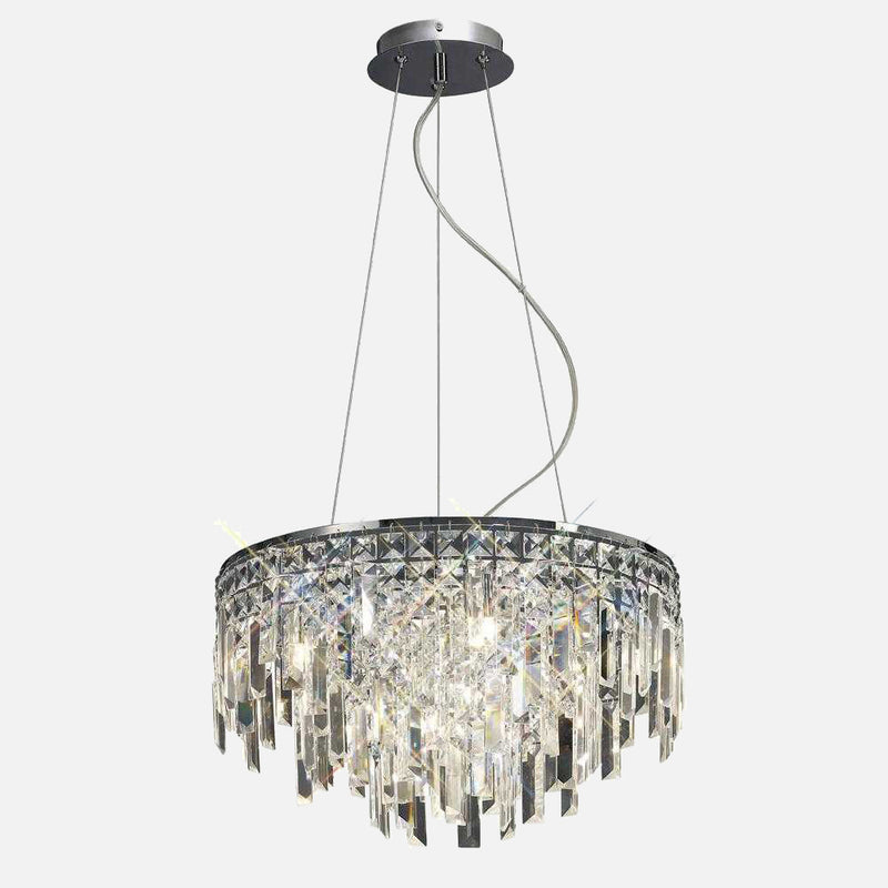 Volete 6 Light Crystal Round Suspension - Chrome | iLite Lighting