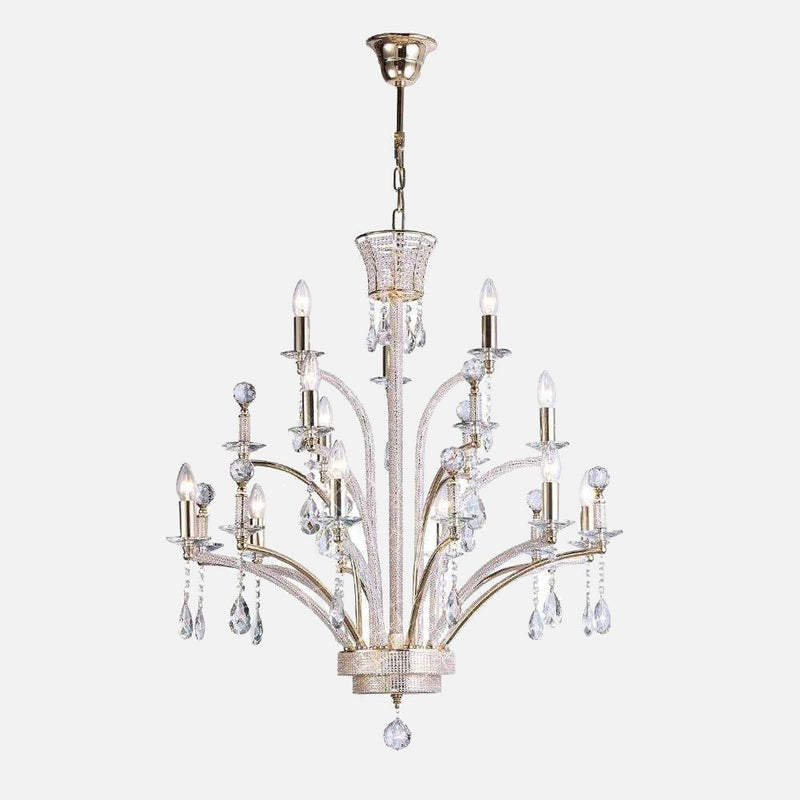 Ogni 12 Light Crystal Chandelier - Gold