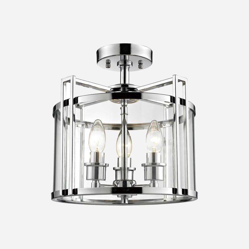 Lanterna 3 Light Lantern Ceiling Light - Chrome | iLite Lighting