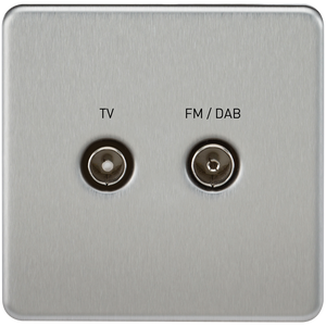 Screwless Screened Diplex Outlet (TV & FM DAB) - Brushed Chrome      14.90  Knightsbridge