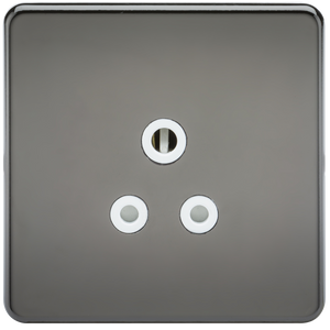 Screwless 5A Unswitched Socket - Black Nickel with White Insert | iLite Lighting